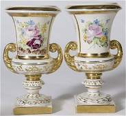 64 Pair of Mid 20th C Hand Painted Porcelain Urns