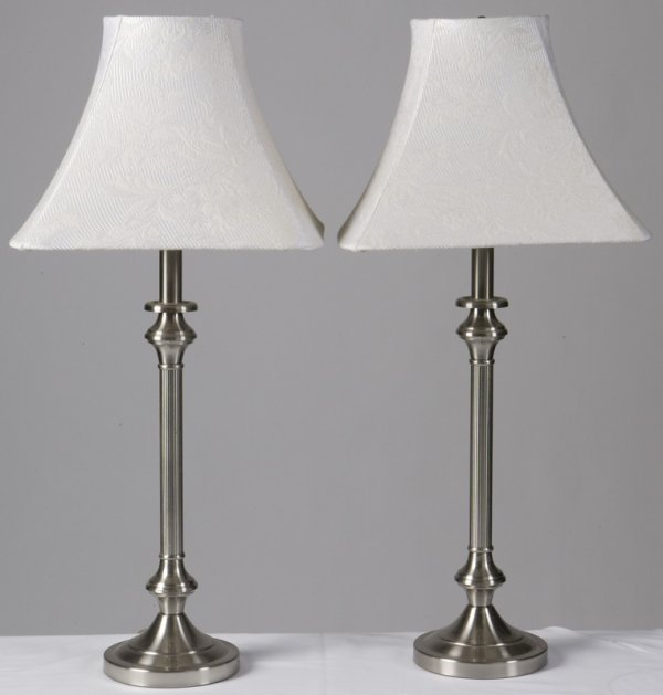 1001: Pair Of Chrome Style Table Lamps