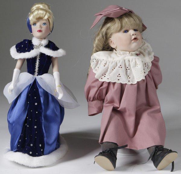 1014: 2 Antique Style Bisque Dolls
