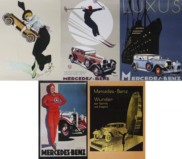 1016: Collection Of 5 Reproductions Of Vintage Mercedes