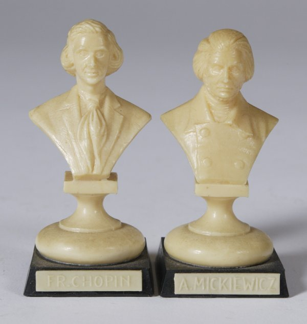 11: Pair Early  Miniature Celluloid Bust of Composers