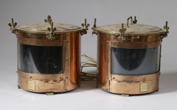 13: Pair Of Copper Lights From A Queen Mary Lifeboat