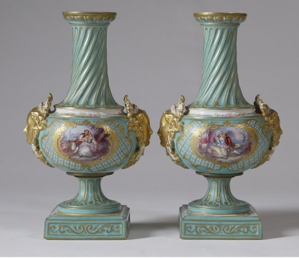 14: Exceptional Pair Mid-19th C. Sevres Hand Painted Va
