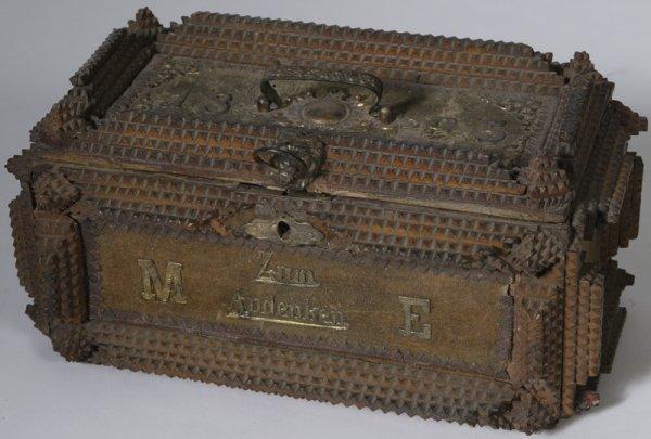 24: Dated 1895 Wooden Tramp Art Carved Dresser Box