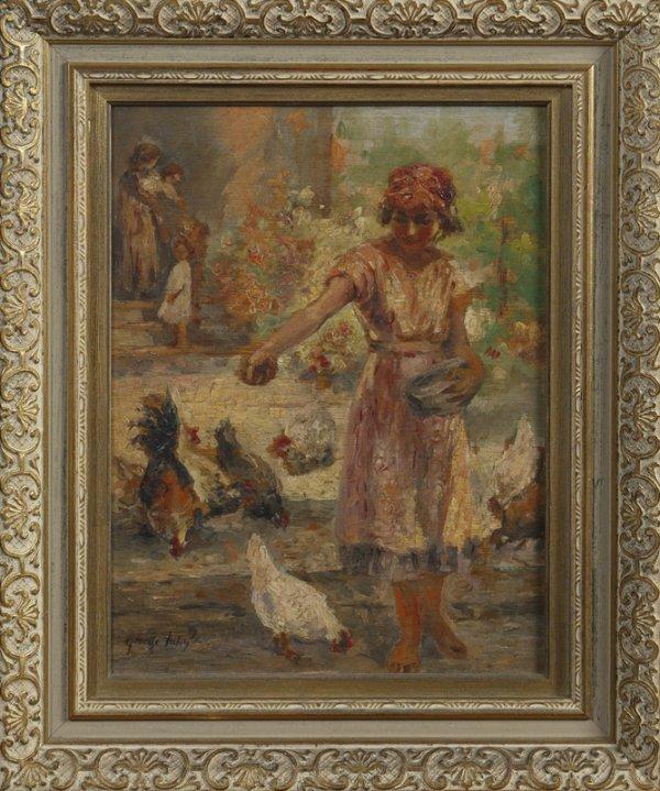 34: George B. Luks, American (1867-1933), Oil on Wood