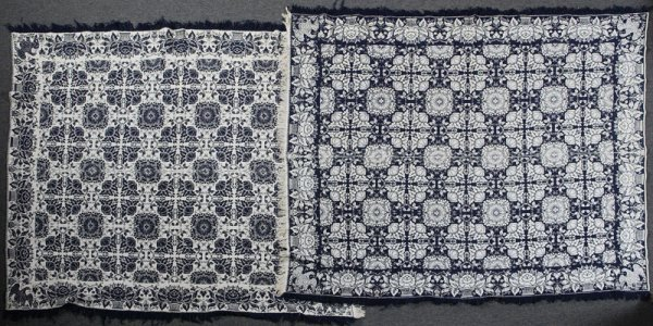 115: Pair of Mid 19th C. Jacquard Coverlets