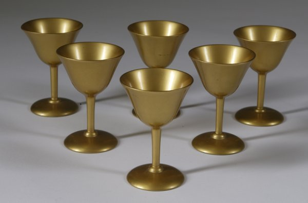 1: Collection Of 6 Gold Painted Goblets