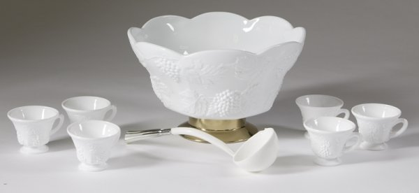 9: Exceptional 14 Piece Milk Glass Punch Bowl Set