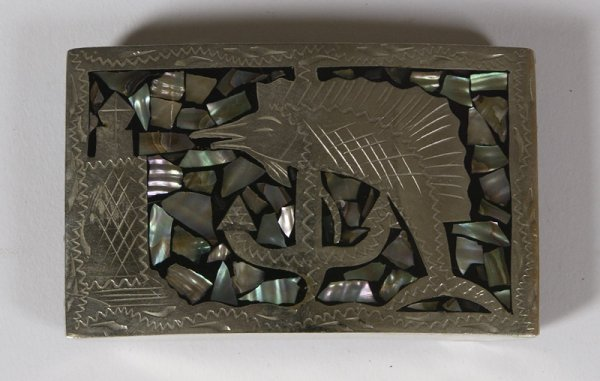 10: Ca. 1960 Chrome & Abalone' Shell Inlaid Belt Buckle