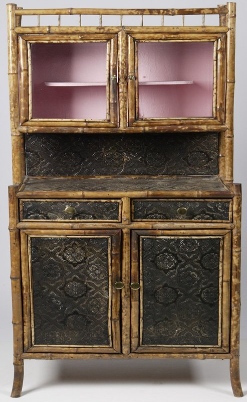 22: Late 19th C. English Victorian Bamboo Cabinet