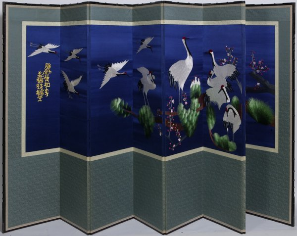 54: 20th C. Chinese Silk Woven 8 Panel Wall Screen