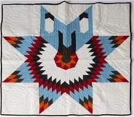 71: 1991 Native American Handmade War Bonnet Quilt