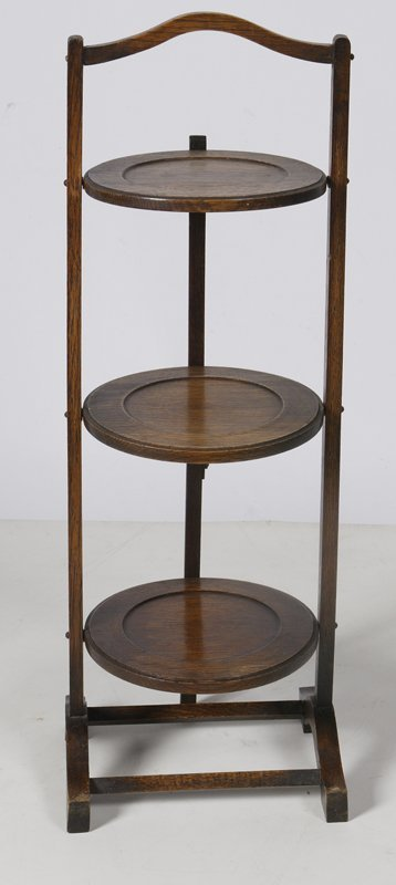 1001: Very Nice 3 Tiered Oak Plate Stand