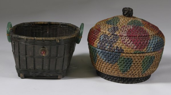 1006: Lot of 2 Hand Woven Wicker Primitive Baskets