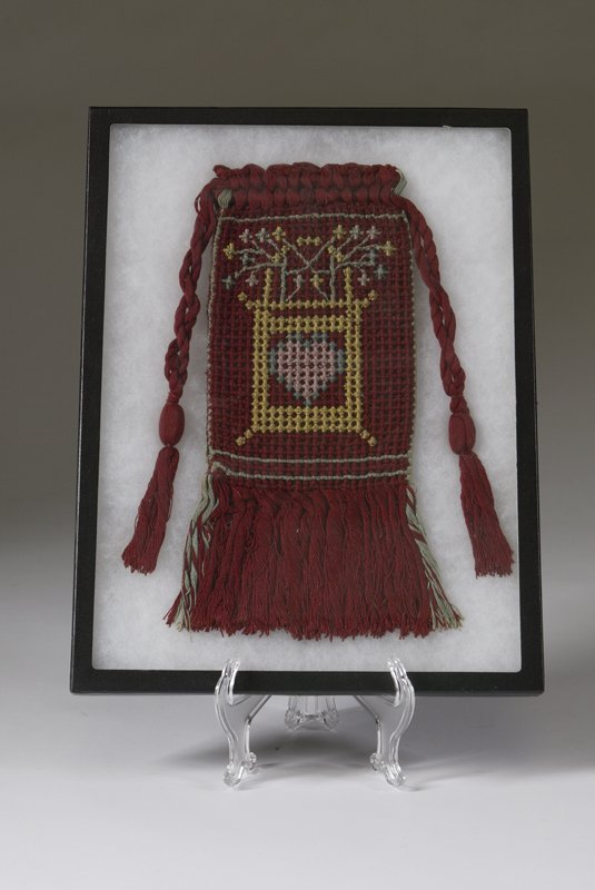1009: Southeast Asian Woven  Bag Mounted In A Shadowbox