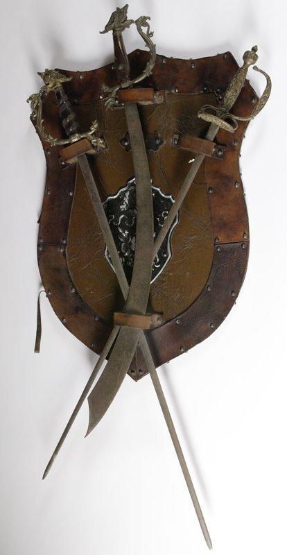 1013: C/1940s Handmade Military Lodge Sword Display