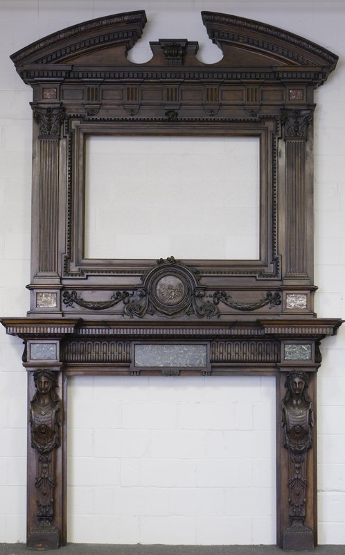 1020: Late 19th C. English Hand Carved Oak Mantle