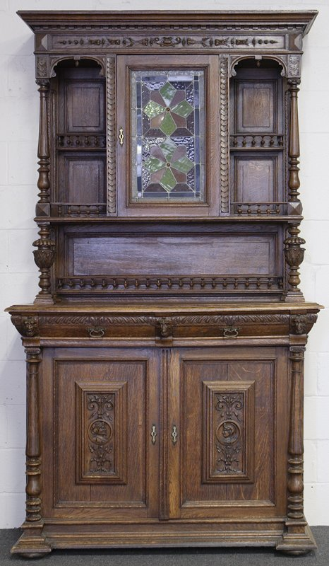 1023: Early 20th C. Walnut Carved Cabinet