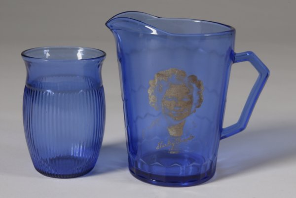1504: Vintage Cobalt Blue Shirley Temple Pitcher