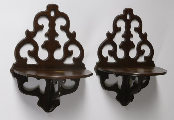 1512: Pair Of 20th C. Walnut Butler Wall Shelves
