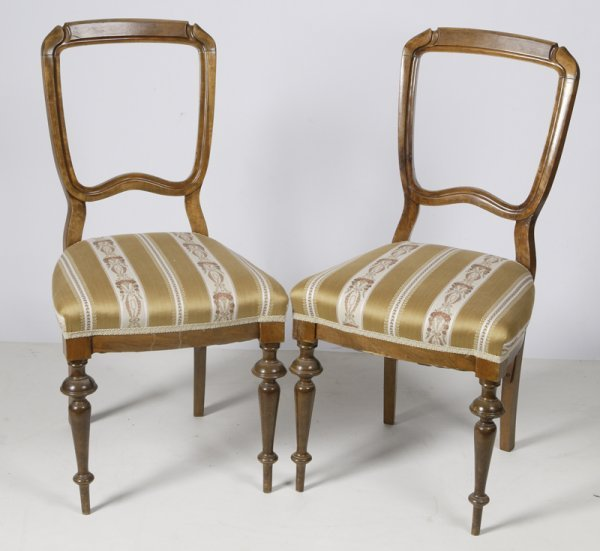 1524: Pair Of Gustavian Walnut Upholstered Side Chairs