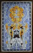 1551: Framed Stained Glass Tiffany Style Leaded Window