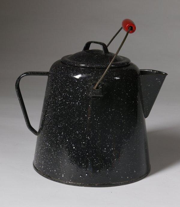4: Circa 1950's Black Enameled Coffee Pot