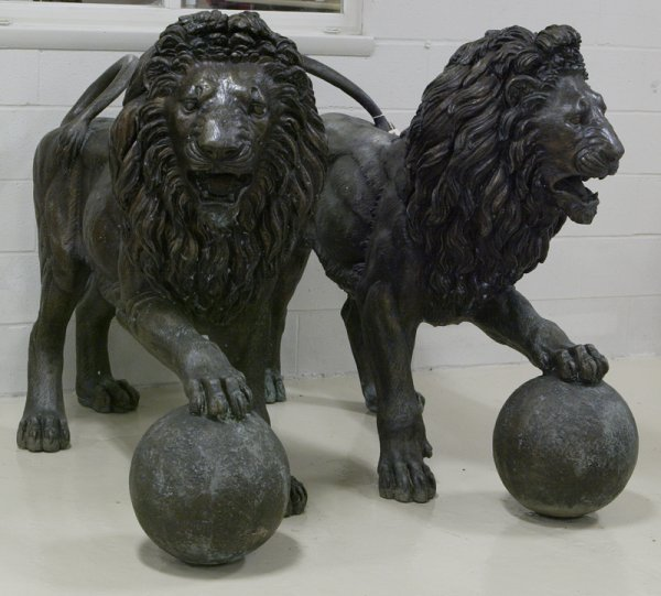 13:Early 20th C  Pair Bronze Life Size Standing Lions