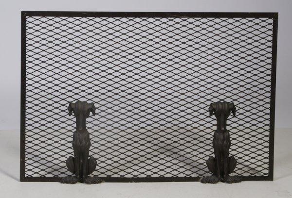 19: C/1930s Art Deco Cast Iron & Steel Fire Screen