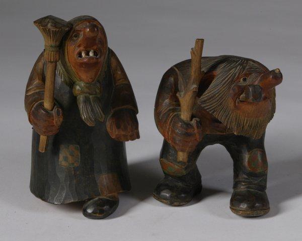470: Pair of Mid 20th C. Norwegian Wood Trolls
