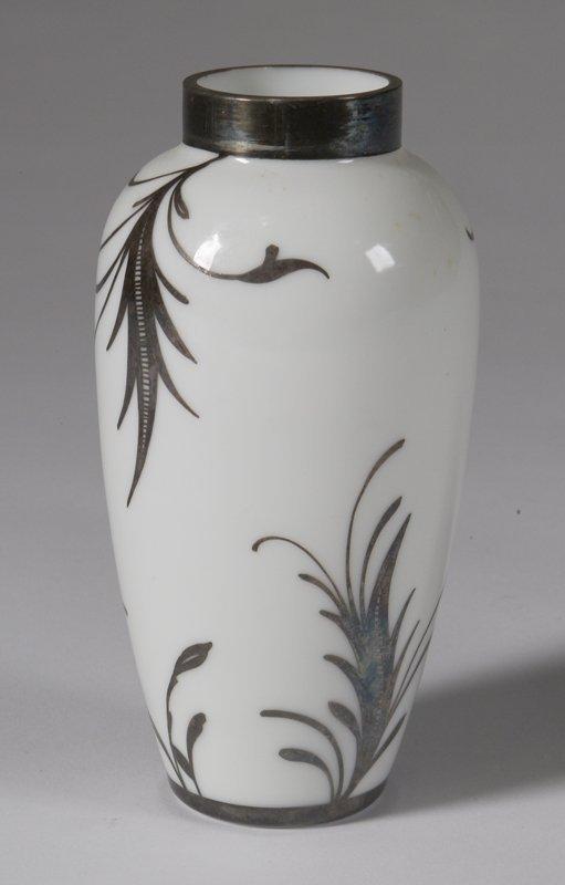 569: C/1915 Sterling Overlay White Glass Vase