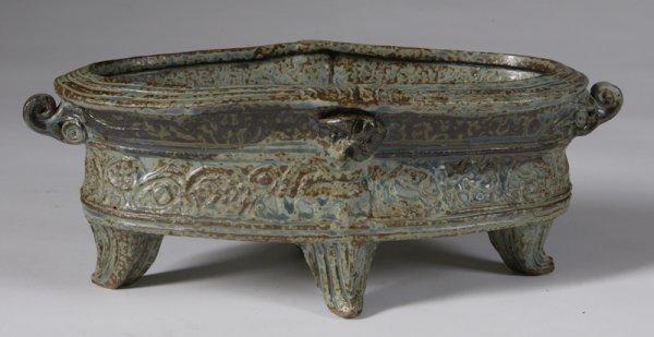 572: Late 20th C. Handmade Stoneware Centerpiece