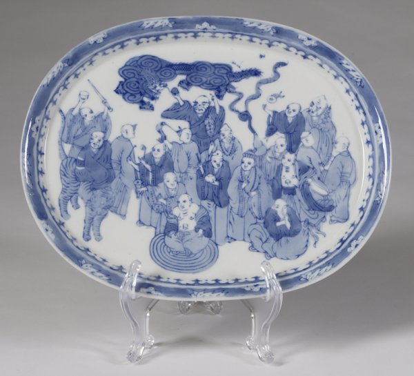 580: Chinese Blue And White Oval Porcelain Plate