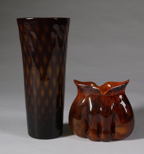 582: 2 Art Glass Studio Table Articles