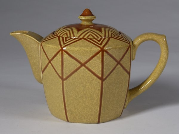 586: C/1930s German Pottery Teapot With Lid