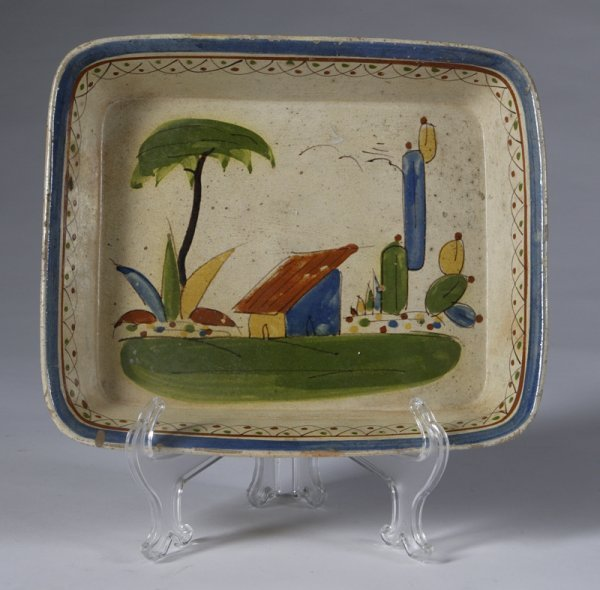 587: Early 20th C. Painted Mexican Pottery Dish