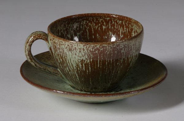 588: Mid 20th C. Art Pottery Studio Cup & Saucer