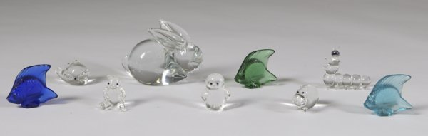 591: Collector's Lot Of 9 Glass Animal Figurines