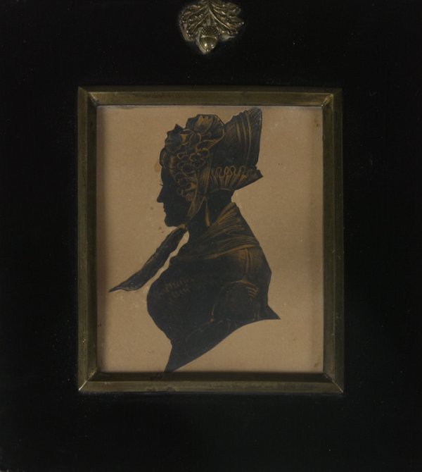 1022: 19th C. Silhouette Of A Lady With A Bonnet