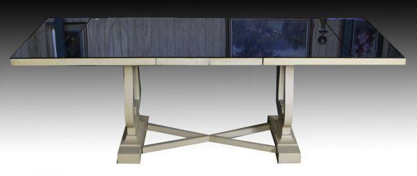 12: Ca. 1940's Blue Glass Mirrored Dining Table