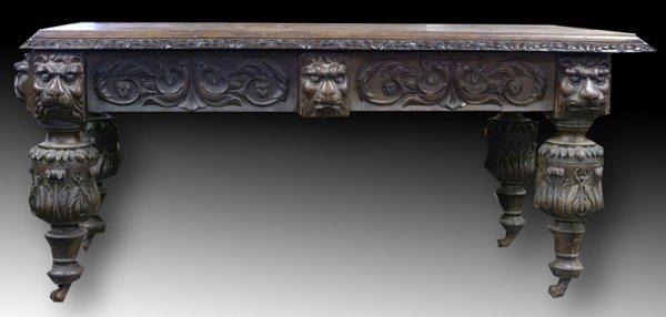 15: 19th C English Renaissance Revival Library Table