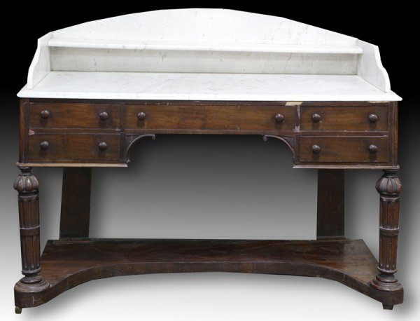 20: 19th C. English Mahogany Marble Top Commode
