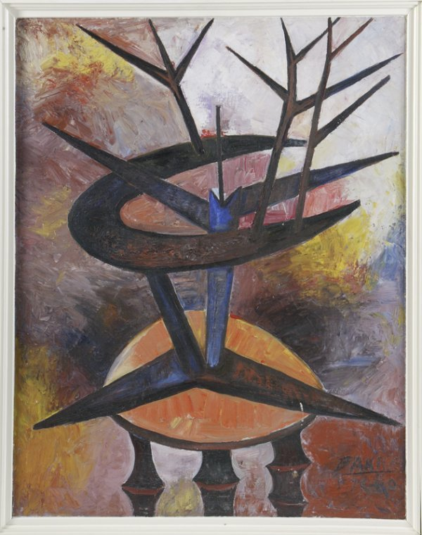 "95: Sadanard Bakre, Oil on Canvas; ""Plant on Tripod"""