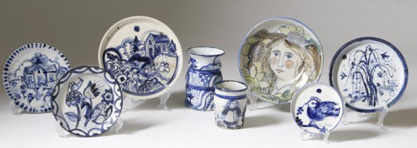 187: Sue Bolt, Michigan, 8 Pieces Art Pottery