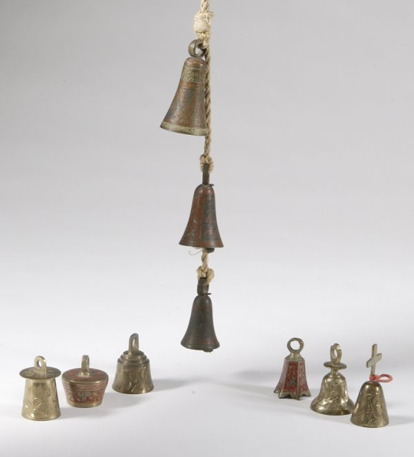448: 9 Southeast Asian Enameled And Brass Bells