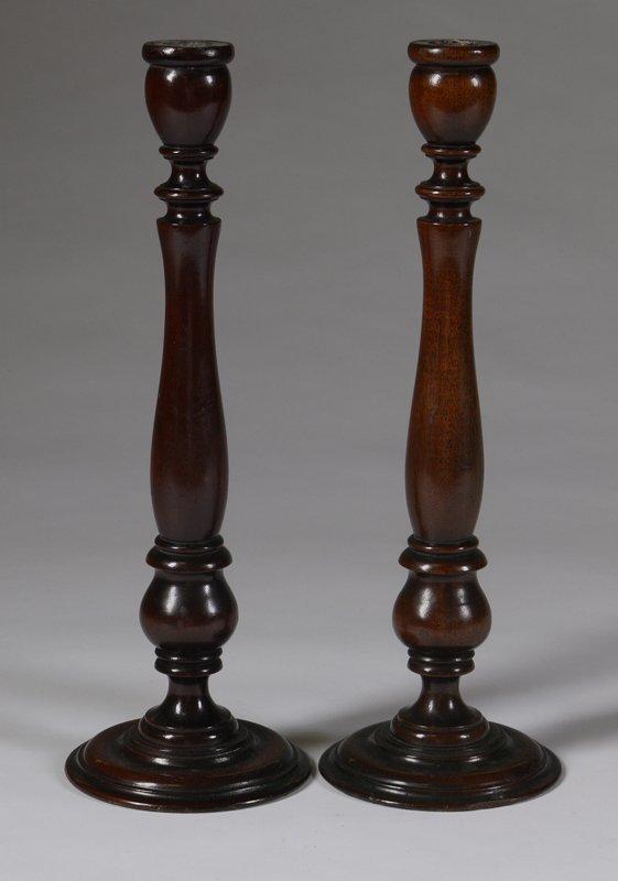449: Pair of Late 19th C. Mahogany Candlesticks