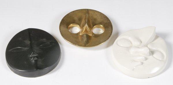 450: 3 Signed Taro Hanging Wall Masks