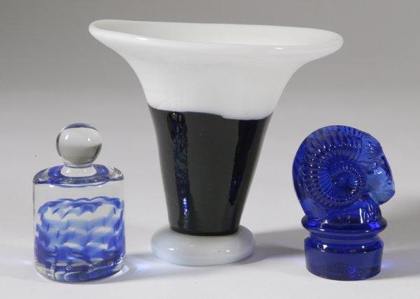 451: Art Glass Vase & 2 Cobalt Blue Paperweights