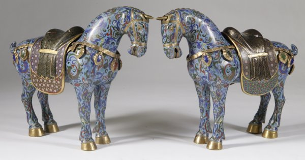 456: Pair of Chinese Cloisonne & Bronze Horses