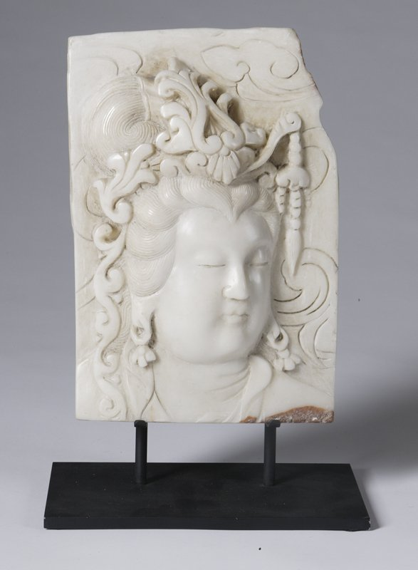457: 19th C. Qwan Yin Marble Plaque